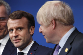 French President Emmanuel Macron and British Prime Minister Boris Johnson meet last year.