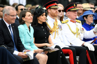 Official duties: Prince Harry, the Duke of Sussex, and his wife Meghan, the Duchess of Sussex, attend the official opening of Anzac Memorial at Hyde Park during their Australian tour.