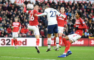Lucas Moura scores for Spur against Middlesbrough in the FA Cup third round on Sunday.