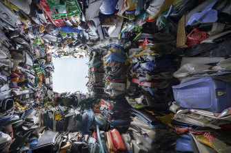 Inside Raffaello Rosselli's Plastic Palace, visitors could look up to see old toys and toddlers' pools crushed into bricks.