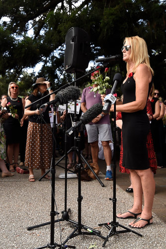 Natalie Hinton, the mother of Tara Brown, who was killed in a domestic violence incident in 2015, speaks during a domestic violence protest in Brisbane on Friday.