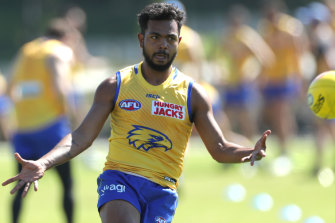 Willie Rioli at West Coast training earlier this week. He is now the subject of an AFL/ASADA investigation.