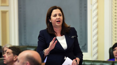 Queensland Premier Annastacia Palaszczuk is seen during Question Time at Parliament House on Thursday.