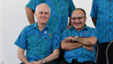 Australian Prime Minister Malcolm Turnbull with his Papua New Guinean counterpart Peter O'Neill in Samoa last year.