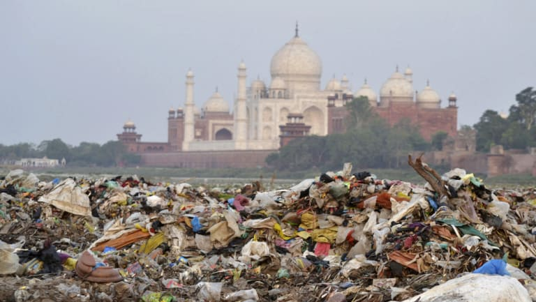 Rubbish covers the area by the Yamuna river near the Taj Mahal in Agra, India.