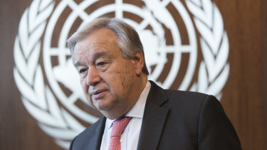 "United Nations Secretary-General Antonio Guterres tells the Pacific Island Forum that global greenhouse emissions ""are reaching record levels and show no sign of peaking""."