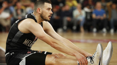 Chris cross: Melbourne United guard Chris Goulding reacts after being fouled.