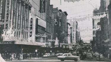 Decorations on Bourke Street at Christmas 1963.