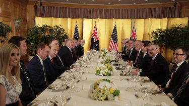 Scott Morrison and Donald Trump met at a working dinner.