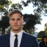 St. George Illawarra Dragons rugby league player Jack de Belin arrives at Wollongong Local Court in Wollongong, Wednesday, July 24, 2019.