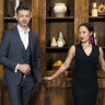 Melissa Leong and Jock Zonfrillo with the ingredient pairings from the immunity challenge in MasterChef episode 14.