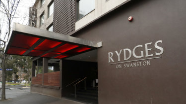 The Rydges on Swanston was the first hotel where a coronavirus outbreak was spread.