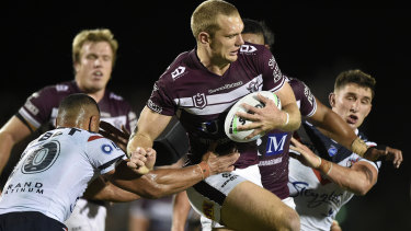Tom Trbojevic scored a double in Manly's big win over the Roosters in their semi-final.