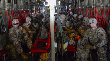 American soldiers arrive at Valley International Airport in Texas on Thursday to conduct the first missions along the southern border in support of Operation Faithful Patriot.