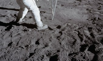 Footprints in the dust: Astronaut Buzz Aldrin during the Apollo 11 extravehicular activity (EVA) on the moon.