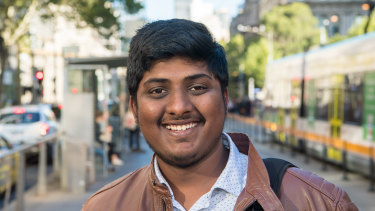 Student SriHarsha Malempati who moved to Melbourne six months ago.