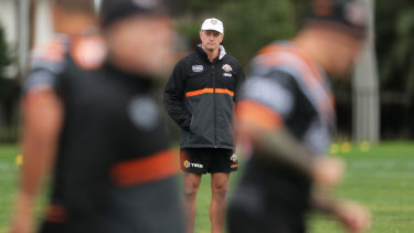 Michael Maguire puts his players through their paces at training last year.