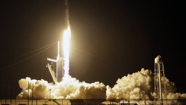 A SpaceX Falcon 9 rocket with a demo Crew Dragon spacecraft lifts off from pad 39A on an uncrewed test flight to the International Space Station at the Kennedy Space Centre in Cape Canaveral on Saturday.