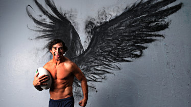 Just one of the entries so far for the $50,000 Brisbane Portrait Prize. The wings were painted by street artist BoHDi.