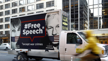 A Free Speech poster vehicle with images of Chelsea Manning and WikiLeaks founder Julian Assange in Washington last week.