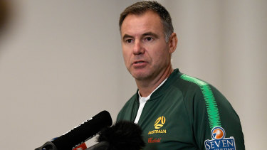 Matildas coach Ante Milicic speaks to the media during a press conference in Sydney last week.
