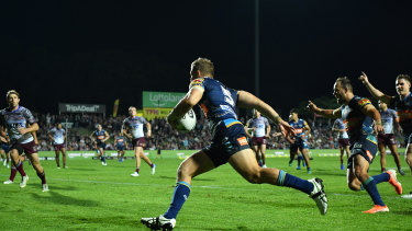 Cop that: Titans winger Dale Copley scored the first hat-trick of his career at Brookvale.