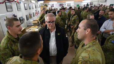 Prime Minister Scott Morrison on a visit to Task Group Taji at Taji Military Complex in Iraq in December 2018.