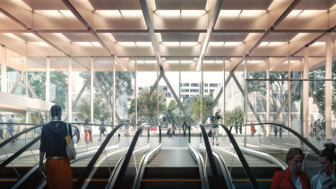 An artist's impression of the proposed Woolloongabba underground rail station as part of Cross River Rail.