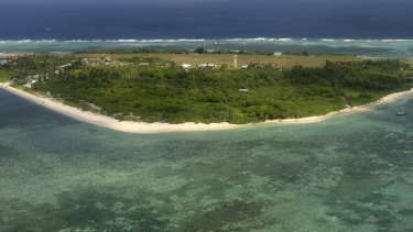 An aerial view of Pag-asa Island, part of the disputed Spratly group of islands, in the South China Sea.