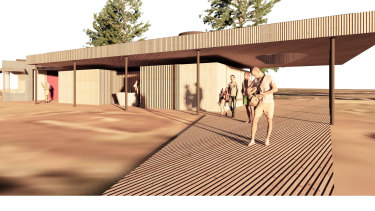 An artist's impression of the new public toilet block proposed for Mona Vale Beach.