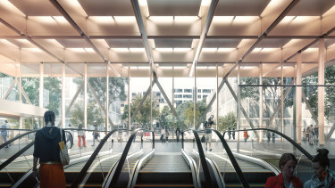An artist's rendering of Woolloongabba's underground rail station as part of the Cross River Rail project.
