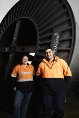 Sara Church and Baxter Howard, construction workers from Acciona Mortlake South Wind Farm,  both grew up in the south-west region.
