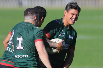 Did you hear the one about the Roosters wanting to three-peat? Latrell Mitchell shares a laugh.