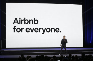 Airbnb co-founder and CEO Brian Chesky speaks during an event in San Francisco. Airbnb has taken a hit during the global pandemic, with the conversion of Airbnb properties into permanent rentals in Australia.