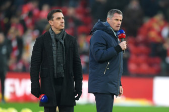Gary Neville (left) and Jamie Carragher weighed in on the Manchester City UEFA ban on SKy Sports.