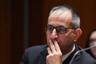 Secretary of the Home Affairs Department Mike Pezzullo at Senate Estimates on Monday, March 2.