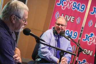 With former lord mayor Robert Doyle at a guest appearance on Joy FM in 2015.