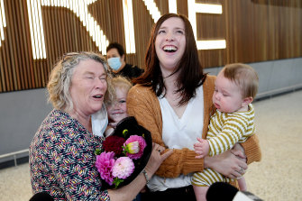 Christina Cassin meets her new grandson Wolfe Rodgers, with her daughter Stacey and granddaughter Peyton.