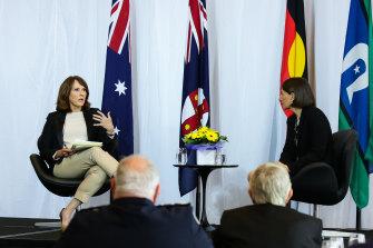 Chris Bath interviewing Premier Gladys Berejiklian at the Corporate Club Australia event.