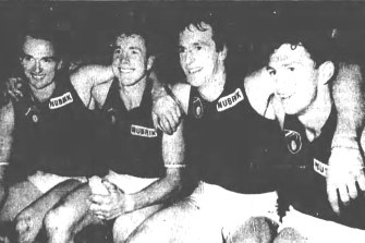 Together for one match only: Anthony, Terry, Neale and Chris Daniher after the game in 1990.