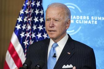US President Joe Biden speaks to the virtual Leaders Summit on Climate.