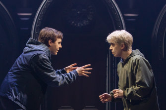 Nyx Calder (right) in their role as Scorpius Malfoy.