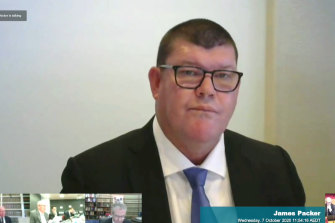 James Packer appearing at the NSW Independent Liquor and Gaming Commission inquiry in October.