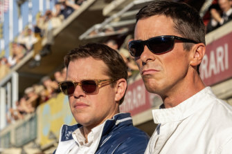 Christian Bale, right, and Matt Damon in Ford v Ferrari.