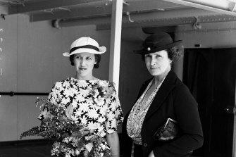 Mrs Mabel Magdalene Freer (left) aboard the Awatea in Sydney, 4 December 1936.