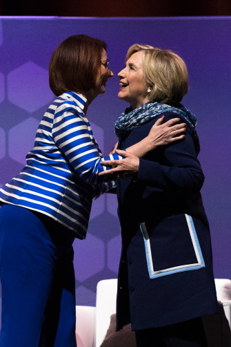 Julia Gillard interviewed Hillary Clinton when the former US secretary of state toured here in 2018.