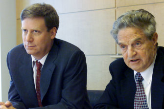 "Soros with his former head trader Stanley Druckenmiller, who was told to ""go for the jugular"" when Soros bet against the British pound in 1992."
