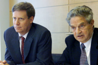 """Soros with his former head trader Stanley Druckenmiller, who was told to """"go for the jugular"""" when Soros bet against the British pound in 1992."""