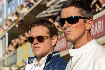 Christian Bale, right, and Matt Damon inFord v. Ferrari.