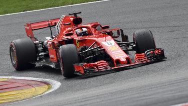 Ferrari's Sebastian Vettel en route to winning the Belgian Formula One Grand Prix on Sunday.